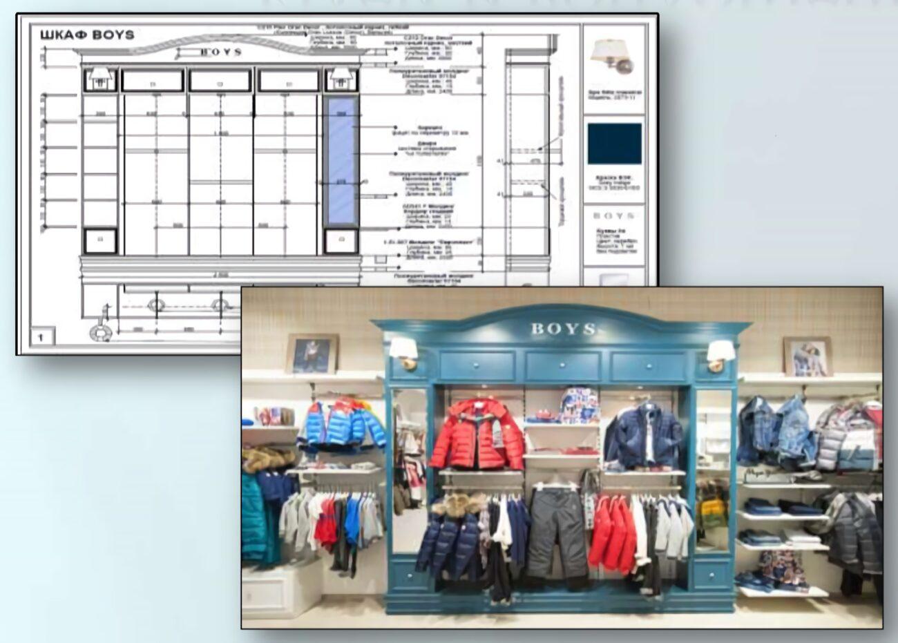 Процесс создания мебели для магазинов от чертежа до реализации